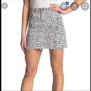 Current/Elliot cheetah denim skirt